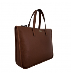 Bolso portadocumentos de piel mujer marrón